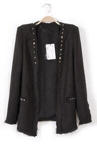 Black Long Sleeve Rivet Pockets Suit