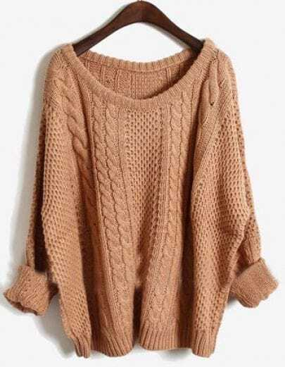 Pink Batwing Long Sleeve Pullovers Sweater -SheIn(Sheinside)
