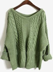 Green Batwing Long Sleeve Pullovers Sweater