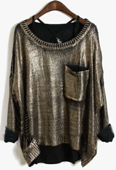 Gold Long Sleeve Ripped Hollow Pocket Pullovers Sweater