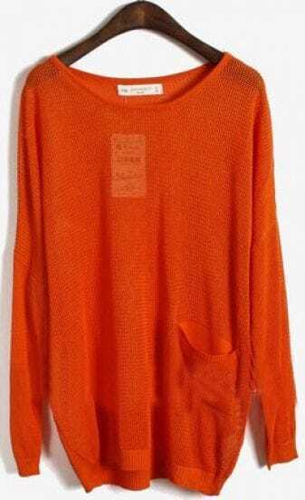 Orange Long Sleeve Batwing Hollow Pocket Pullovers Sweater