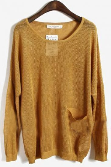 Yellow Long Sleeve Batwing Hollow Pocket Pullovers Sweater