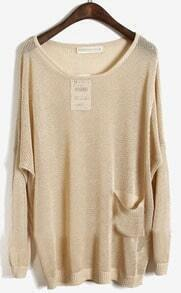 Apricot Long Sleeve Batwing Hollow Pocket Pullovers Sweater