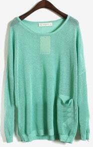Green Long Sleeve Batwing Hollow Pocket Pullovers Sweater