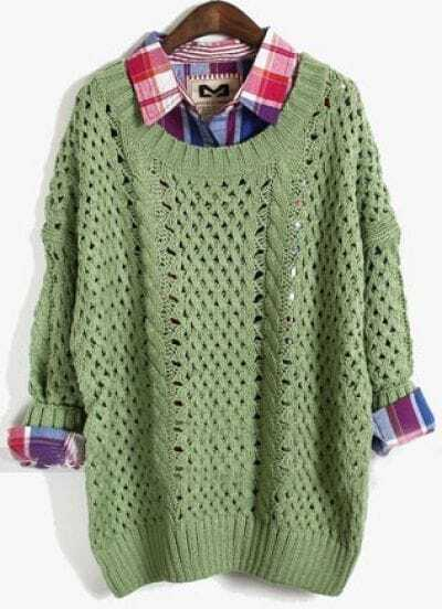 Green Long Sleeve Batwing Hollow Pullovers Sweater