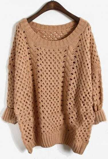 Pink Long Sleeve Batwing Hollow Pullovers Sweater