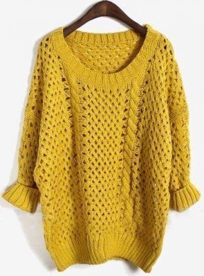 Yellow Long Sleeve Batwing Hollow Pullovers Sweater