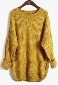Yellow Round Neck Long Sleeve Pullovers Sweater