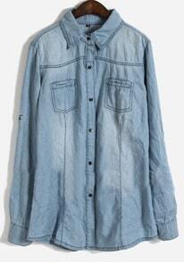 Blue Lapel Long Sleeve Pockets Embellished Denim Shirt