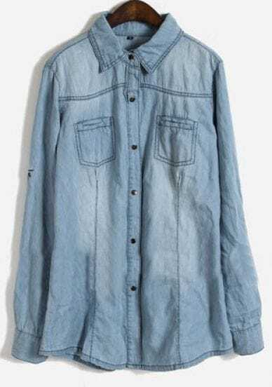 Blue Lapel Long Sleeve Pockets Embellished Denim Shirt