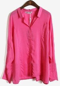 Rose Red Lapel Batwing Long Sleeve Buttons Shirt