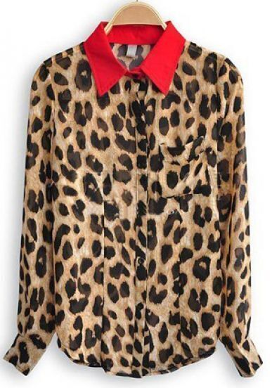 Leopard Contrast Collar Long Sleeve Pocket Chiffon Shirt
