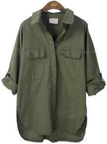 Army Green Lapel Batwing Long Sleeve Pocket Shirt