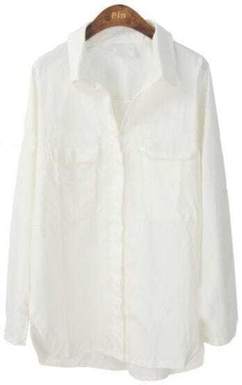 White Lapel Batwing Long Sleeve Pocket Shirt