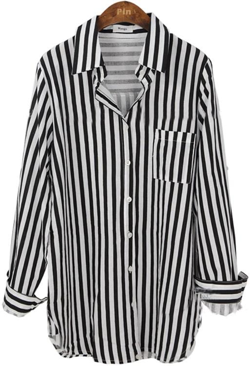 Black Lapel Vertical Stripe Pocket Embellished Shirt ...