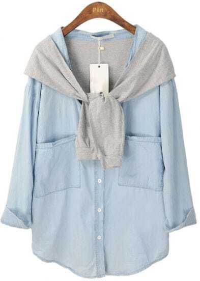 Blue Long Sleeve Contrast Cape Pockets Denim Blouse