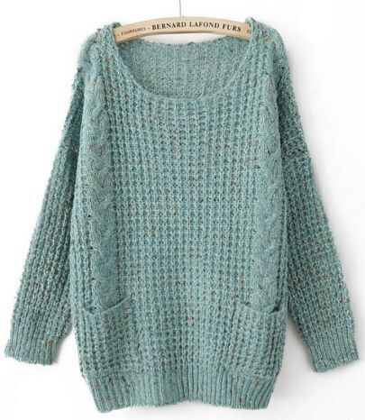 Turquoise Round Neck Long Sleeve Pockets Embellished Sweater