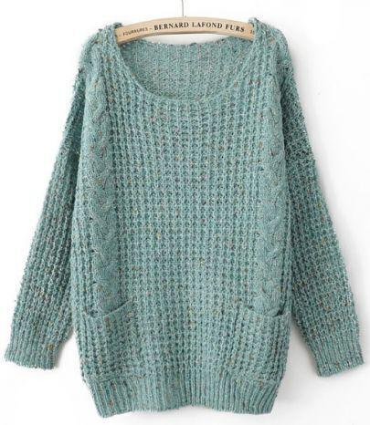 Turquoise Round Neck Long Sleeve Pockets Embellished Sweater