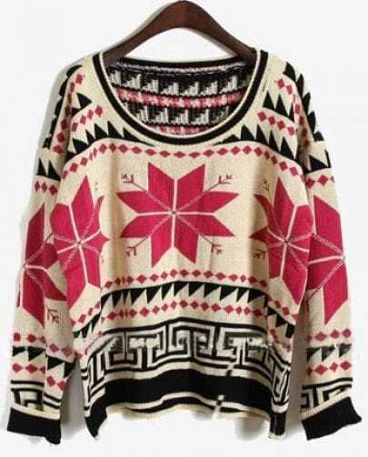 Rose Red Long Sleeve Snowflake Tribal Print Sweater