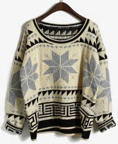 Grey Long Sleeve Snowflake Tribal Print Sweater