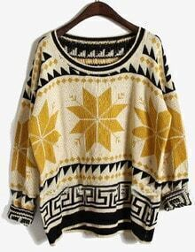 Yellow Long Sleeve Snowflake Tribal Print Sweater