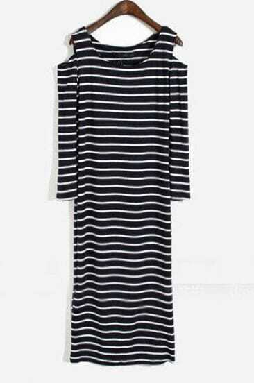 Black Off the Shoulder Long Sleeve Striped Dress