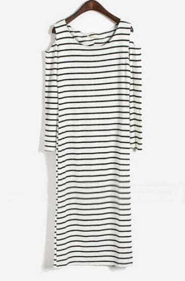 White Off the Shoulder Long Sleeve Striped Dress