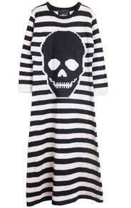 Black Apricot Striped Long Sleeve Skull Print Dress