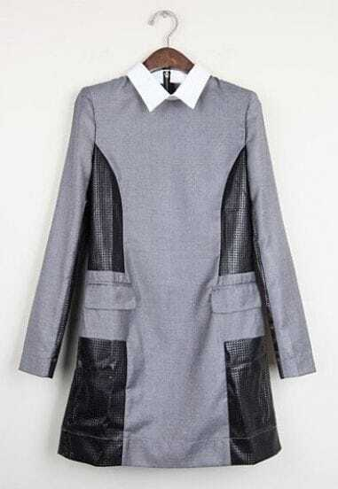 Grey Lapel Long Sleeve Hollow Contrast Leather Dress
