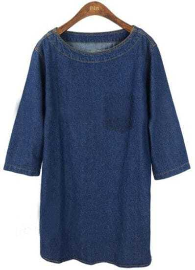 Blue Round Neck Pocket Embellished Loose Denim Dress