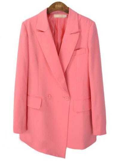 Pink Notch Lapel Long Sleeve Pockets Suit