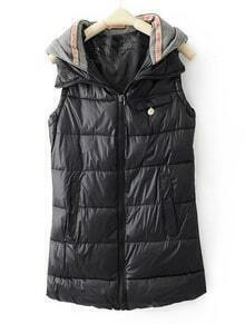Black Hooded Sleeveless Zipper Pocket Vest