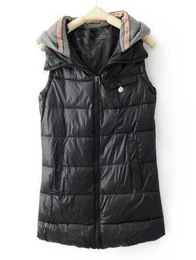 Black Hooded Sleeveless Zipper Pocket Vest