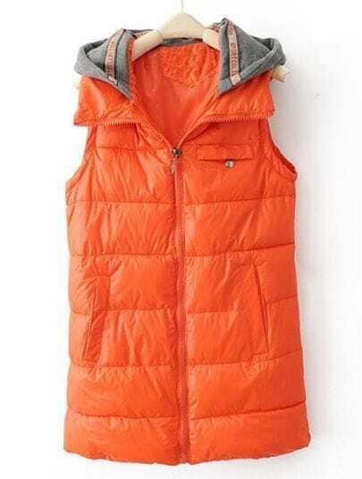 Orange Hooded Sleeveless Zipper Pocket Vest