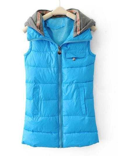 Blue Hooded Sleeveless Zipper Pocket Vest
