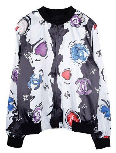 White Long Sleeve Floral Cartoon Zipper Jacket
