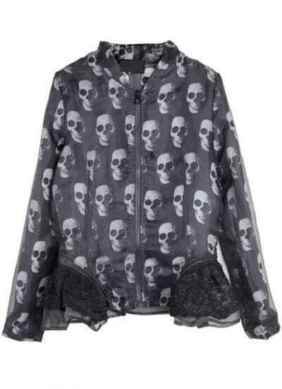 Black Long Sleeve Skull Print Contrast Lace Coat