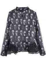 Black Long Sleeve Skull Print Contrast Lace Coat