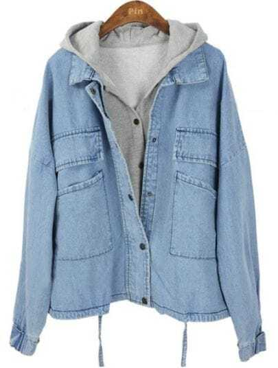 Light Blue Hooded Batwing Pockets Denim Two Pieces Jacket