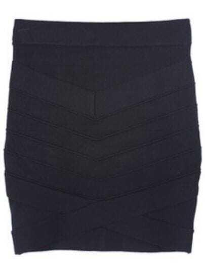 Black Striped Split Bodycon A Line Skirt
