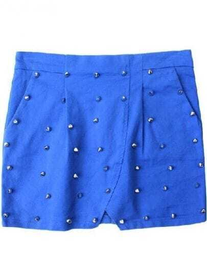 Blue Slim Rivet Bodycon A Line Skirt