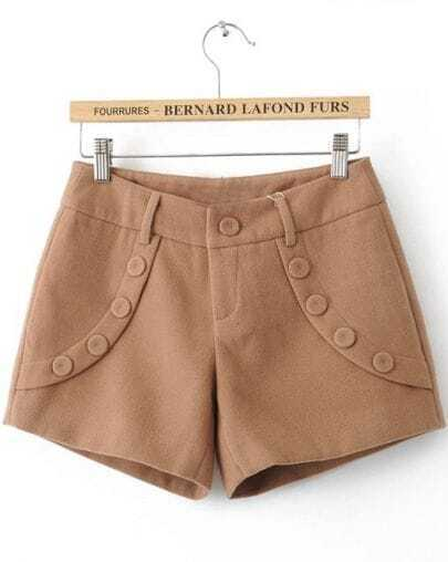 Khaki Low Waist Buttons Embellished Shorts
