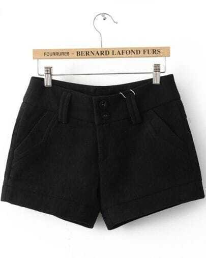 Black Loose Button Fly Shorts
