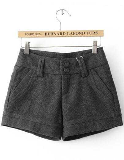 Grey Loose Button Fly Shorts