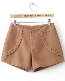Khaki Low Waist Buttons Embellished Shorts
