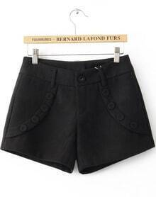 Black Low Waist Buttons Embellished Shorts