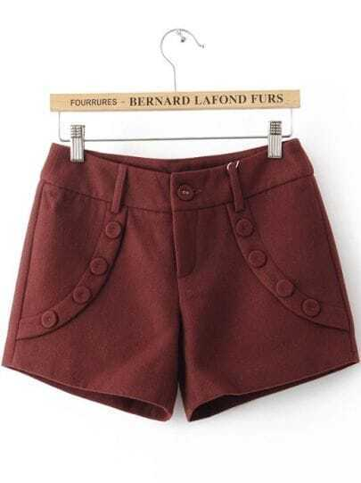 Wine Red Low Waist Buttons Embellished Shorts