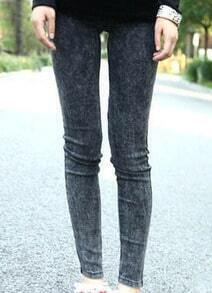 Black Skinny Snow Dot Elasic Denim Leggings