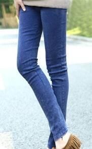 Blue Skinny Snow Dot Elasic Denim Leggings