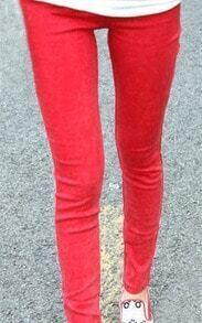 Red Skinny Snow Dot Elasic Denim Leggings